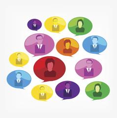 business people in speech bubbles.