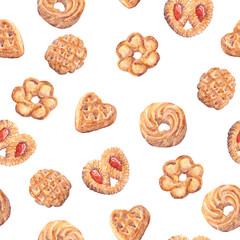 Seamless cookies wallpaper. Baking food design isolated