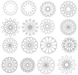 Black circles set. Vector illustration.