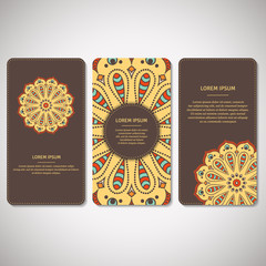 Set of ornamental cards, flyers with flower mandala in brown, yellow colors. Vintage decorative elements. Indian, asian, arabic, islamic, ottoman motif. Vector illustration.