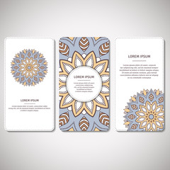 Set of ornamental cards, flyers with flower mandala in white, blue colors. Vintage decorative elements. Indian, asian, arabic, islamic, ottoman motif. Vector illustration.