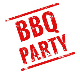 BBQ party Stempel rot grungee