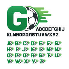English Alphabet set with Football graphics and movement line, Letters set with Soccer graphics