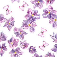 A seamless watercolor pattern with hand drawn watercolor purple flowers and butterflies