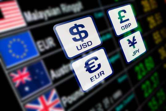 currency icons signs exchange rate on digital display board