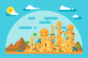 Flat design arab mud village