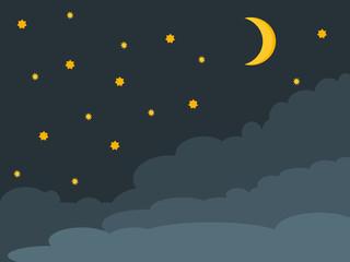 Cartoon starry night sky landscape