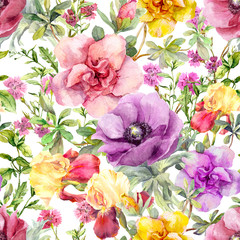 Flowers and meadow grass. Seamless floral background