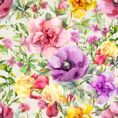 Flowers in meadow. Seamless floral pattern. Watercolor
