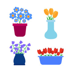Flower pots icons. Spring flowers in pots and vases set
