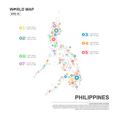Map Of Philippines Infographic design template with gear chain