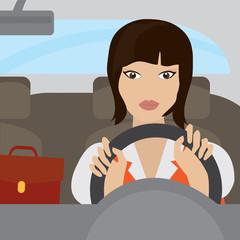 businesswoman driving a car vector