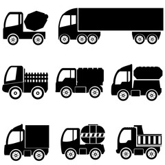 silhouettes the cargo trucks