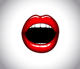 Woman mouth with open red lips. Scream.