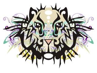 Grunge tribal hamster head. Ornate hamster head with floral elements splashes
