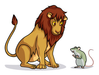 lion and rat colorful