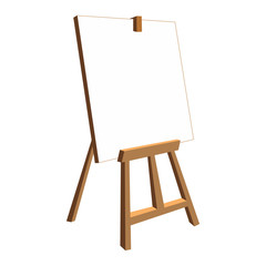 Isolated easel with empty canvas.White background.