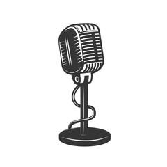Retro monochrome microphone icon