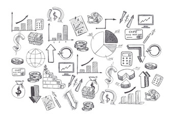 Sketch of hand drawn graphics pictures and diagrams related to business