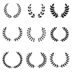 Set of different wreaths. Wreaths icons.