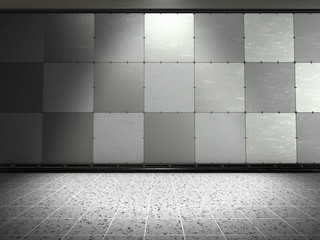 Background image of dark wall with light spot.3d rendering.