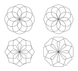 Set of 4 isolated symbols made of circles and polygons