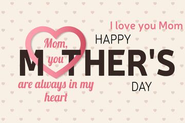 Happy Mother's Day greeting card. Vector illustration.