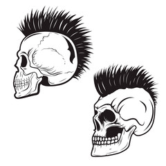 Set of skull with mohawk hairstyle isolated on white background