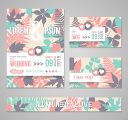 Retro wedding invitations with forest leaves