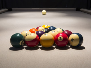 Pool Table, Racked Balls and Cue Ball