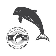 Vector illustration of a dolphin in the old-fashioned style and line-art style. For label or banner.