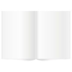 Vector blank magazine spread. Book Spread With Blank White Pages. Isolated white paper