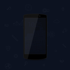 Dark flat cool modern smartphone. Black phone. Flat modern phone and business icons.