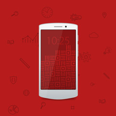 White flat cool modern smartphone. White phone. Flat modern phone and business icons. Red background