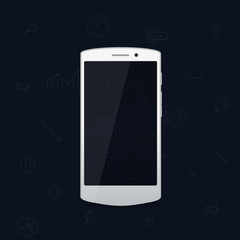 White flat cool modern smartphone. White phone. Flat modern phone and business icons. Rich background