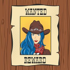 Vector illustration of Wanted Vintage Western Poster