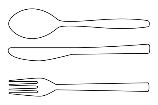 Cutlery outline icon. Knife, fork, spoon