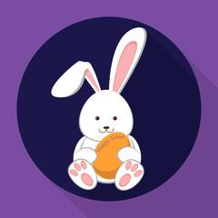 Easter rabbit holding an egg. Flat illustration.