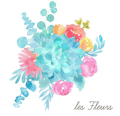 Watercolor floral bouquet. Wedding illustration
