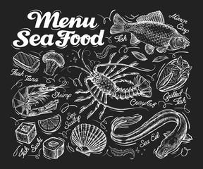 Menu seafood. Hand drawn fish carp, sea eel, scallops, shrimp, lobster, sushi. vector illustration
