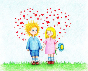 Child`s picture of girl and boy standing on lawn by the color pencils