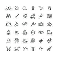 Camping and outdoor vector line icons set