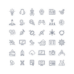 Technologies and science vector line icons