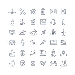 Science, media and internet line vector icons set