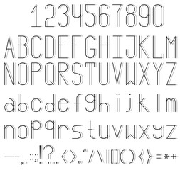 A thin font with a thin sharp shadow