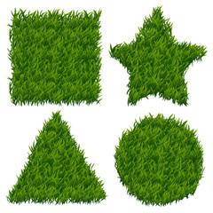 Wall Mural - Green grass vector banners set