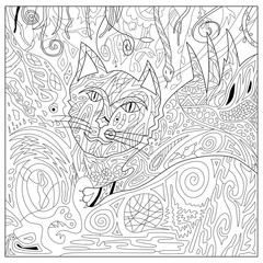 Drawing zentangle persian cat for coloring page, with full background, vector illustration boho style