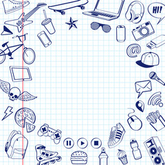 Set of doodle pen drawn. Background from white squared paper page with red margin. Vector illustrations in notebook.
