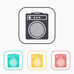 guitar amplifier color icon set