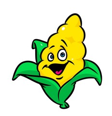 Funny corn cartoon illustration isolated image character
